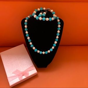 Genuine Turquoise Pearl Necklace Bracelet Set